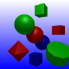 The final version of ray traced spheres, cubes and polygons